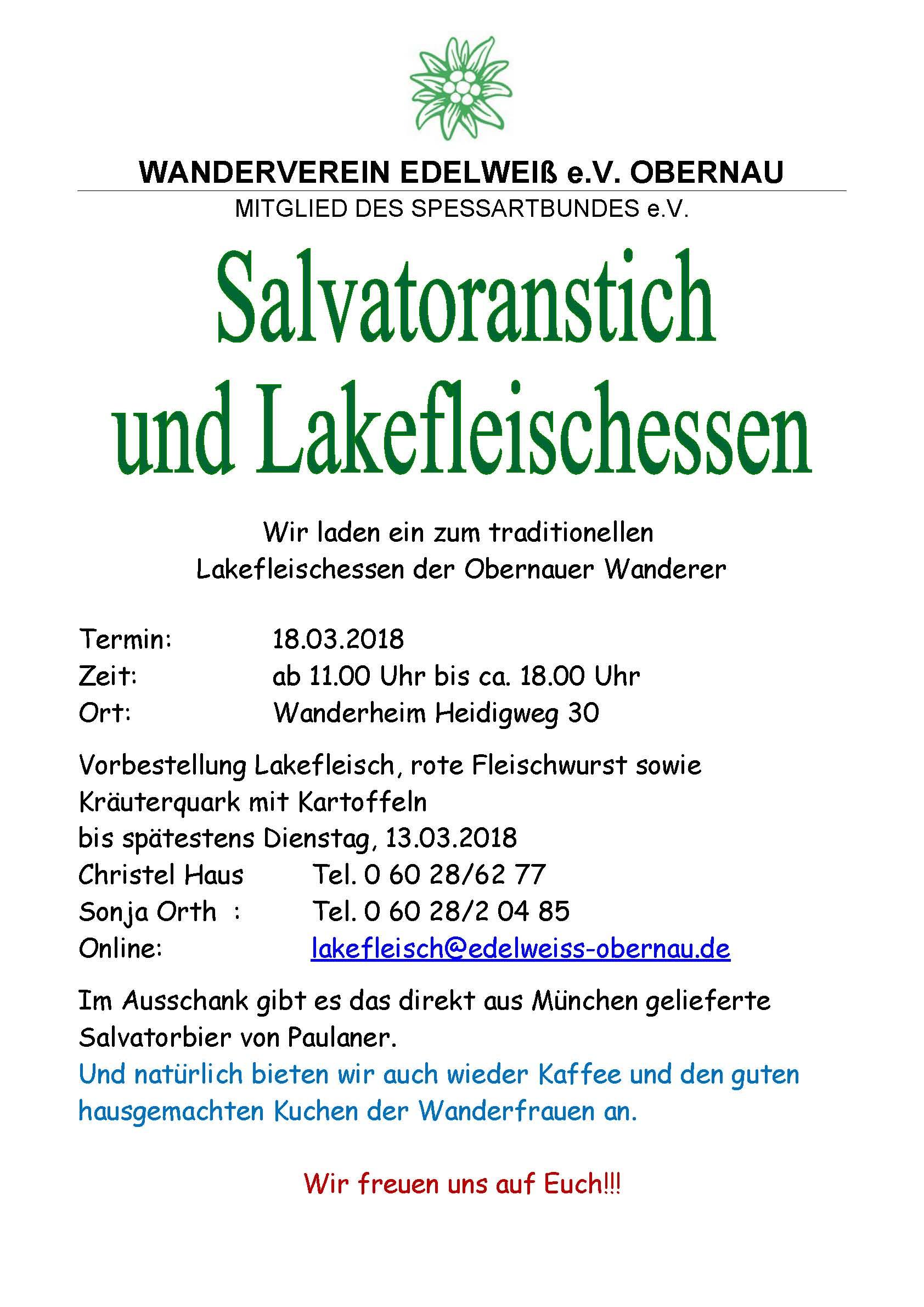 Plakat Lakefleischessen 2018 Obernau