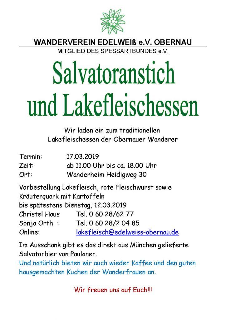 Lakefleischessen der Obernauer Wanderer, am17.3.19 ab 11 Uhr im Wanderheim Heidigweg 30.